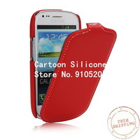 Free shipping +Lychee Grain Leather Flip Style Case for Samsung Galaxy S III / 3 Mini I8190