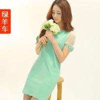 Car 2014 women's spring and summer elegant slim fresh sweet bow basic one-piece dress women summer dress