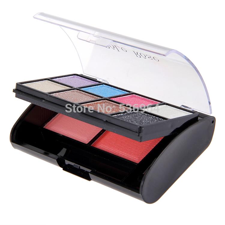 EX-75 with big eyes attractive eye makeup eyeshadow blush cheek Box Set Diamond Eye Shadow (8 eyeshadow +2 blush)(China (Mainland))