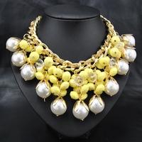 Wholesale Fashion wedding Women Vintage  Jewelry Europe costume yellow flower Beads Party Gift statement choker Pendant Necklace