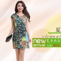 Fashion short-sleeve dress slim ol silk print one-piece dress women's