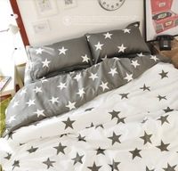 Ikea Style Bedding sets, Gray Star Pattern Cute Bedding sets, Five Star Print Duvet Cover Set, Lovely queen bedding