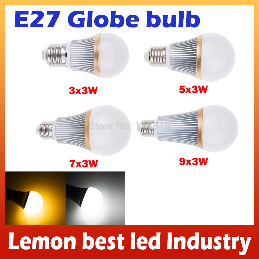 Détail, led peut être obscurci ampoule globe e27 9w 15w 21w led haute puissance puce d'économie d'énergie pour l'éclairage chambre salle d'étude
