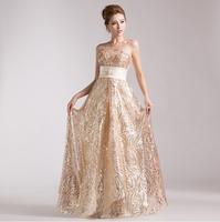 2014 new Gold sequins long evening dress,High-grade party dress,Shiny female's dress