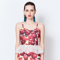 YIGELILA 7205 Latest 2014 Fashion Fruit Print Tops Lace Hem Patchwork Sleeveless Tops Free Shipping