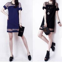 2014 New Spring Summer Chiffon Dress Sexy Woman O-Neck Short Sleeves Slim Plus Size Patchwork Gauze Casual Lady Dresses  SA14-73