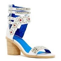 2014 Leather Rivet Women's Chunky Heel Peep Toe Sandals Shoe Tamaya Embellished Sandal Black And White Gladiator Summer Booties