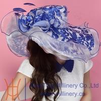 Free Shipping Fashin Hat Organza Hat Church Hat  Summer Dress Hat  Fancy Wedding Dress Flower Two Tone Colors
