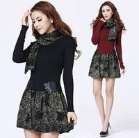 2014 spring women's girdear one-piece dress elegant women winter plus size XXL sweater knitted cashmere dress winter warm dress