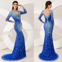 2014 Tarik Ediz Sexy Mermaid V Neck Blue Green Red Champagne Long Sleeve Crystal Long Prom Dresses Formal Evening Gowns