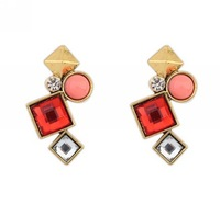 2014 new design high quality free shipping glass square stud earrings fashion earrings