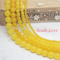 "Hot Sale 4,6,8,10,12mm Yellow Jade Round Loose Stone Beads Aaa+ 15.5""/strand Pick Size Free Shipping(f00015) Aa"