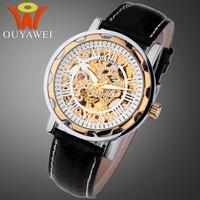 2014 New Famous Brand OUYAWEI Luxury Fashion Casual Stainless Steel Men Mechanical Watch Skeleton Watch For Men Dress Wristwatch