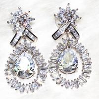 Luxury full zirconium Teardrop Earrings, pebble 2 particle, T shaped stone 52 grains ,miscellaneous stone 2+46 particle ALW1871