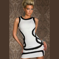 Summer Dress 2014 New hot  Big stars sexy clothes lingerie hip nightclub prom queen striped dress  sauna Winter Dress #