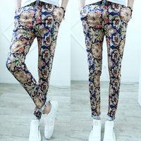 Free Shipping Men's Korea Floral Printing Casual Slim Tapered Trousers Fashion Skinny Stretchy Pencil Pants Slacks