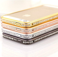 2014 hot Luxury Crystal Rhinestone Bumper Frame Diamond Gold Slim Shining Bling Case 4 Colors in stock For iPhone 5 5G 5S 4 4S