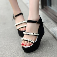 new 2014  summer women sandal women high heel   pumps shoes woman platform shoes soft leather  pearl s sandal