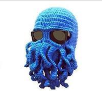 Octopus hat New 2014 Novelty Handmade Knitting Wool touca gorro men Beard hat Winter Chapeu Crochet Beanies toucas de inverno