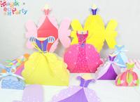 Free Shipping 10pcs 19cm Child birthday party supplies princess skirt folding gift box candy box