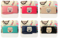 2014 New Arrival Woman summer Wallets lovely  Owl   wallet purse with Carry rope  Free Shipping(China (Mainland))