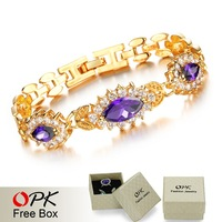 OPK JEWELRY Vintage 18K Gold Plated Purple / White Zircon Wedding Bracelet & Bangle inlaid Crystal Charm Women Accessory , 418