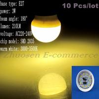 10 Pcs/lot Free Shipping E27 10 SMD 2835 LED Warm White AC220V-240V 3W Energy-saving Light Lamp Bulb LEDQP033