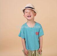 Boys t Shirts 2014 Summer Children's Short Sleeve Striped Shirt Kids Child Cotton Green Tops  90-130 Drop Shipping
