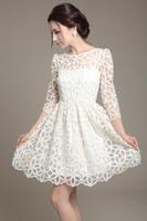 Wow! Brand New Elegant Spring Summer Women Lace White Dress Novelty Fashion Party Dresses Vestido de renda Women's Clothes