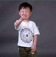 Boys t Shirts 2014 Summer Children's Short Sleeve Print Shirt Kids Child Cotton White Tops  90-130 Drop Shipping