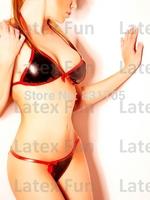 Latex Bikini Set Sexy Bra & Shorts 0.4MM Halter Neck Underwear Set Rubber Free Shipping
