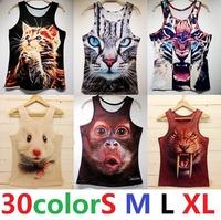 3D01 Free Shipping 2014 New fashion Women/Men leopard Animal 3D Tank Tops Vest Egyptians head tiger/cat/wolf t-shirt Tees s-XL