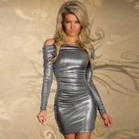 Summer Dress 2014 New hot European style women's clothing nightclub boat neck dress sexy strapless Winter Dress 003#