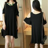 Brand New Black Loose Casual Plus Size Women Summer T-shirt Cotton Leak Shoulder Sexy Women's tshirt Tops Women Clothing Black