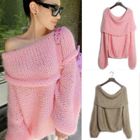 2014 fashion women autumn winter hand knitted slash neck loose women's sweaters pullovers mohair blended wool material 5colors