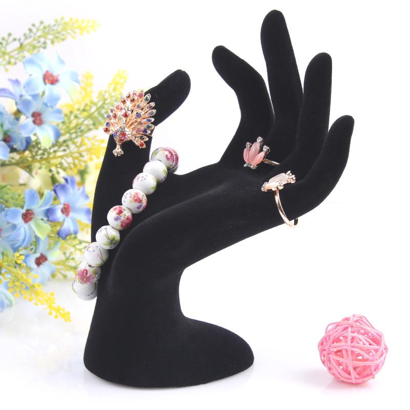 2014 New 1pcs Black Velvet Jewelry Ring Bracelet Necklace Hanging Hand Display Holder Stand Show Rack Resin wholesale()