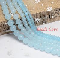 "Hot Sale 4,6,8,10,12mm Aquamarine Jade Round Loose Stone Beads Aaa+ 15.5""/strand Pick Size Free Shipping(f00028) Aa"