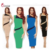 new 2014 summer Women sexy plus size package hip sleeveless contrast color stitching pencil bodycon dress bandage dress # 6577