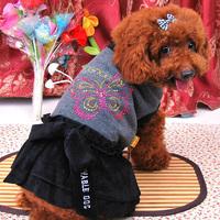 Butterflies broken code clearance velvet skirt autumn and winter clothes pet clothes dog clothes QT