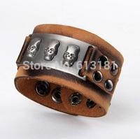 Cool Fashion Metal Skull Bracelet Genuine Cow Leather Bracelet Wristband Buckle Wide Cuff Bangle