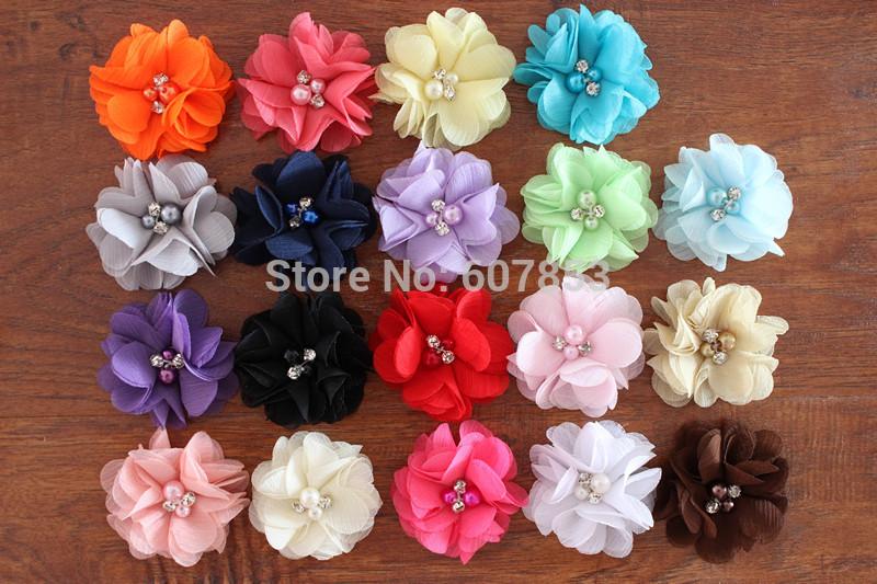 Chiffon Flowers Hair Flowers Two Pearl Two Rhinestone Chiffon Flower,Baby girl children hair accessories(China (Mainland))