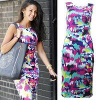 2014 New Summer Fashion Women Celeb Bodycon Dresses Splash Floral Print Sleeveless Knee-Length Dress Ladies Party Vestidos