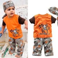 Boys Summer Clothing Set Boys 3PCS Set Hot Beach Monkey Design Clothes Set Short Sleeve Tshirt Pant Hat