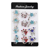 12pcs/lot women's silver plated mix styles multi shape women's blue/red/purple crystal brooch pin women