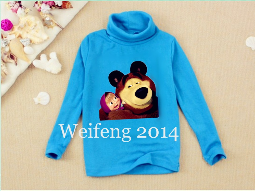 Wholesale discount 2014 Russian Masha and Bear clothing children t shirts boys t shirt long sleeve girl t shirts kids WF0506(China (Mainland))