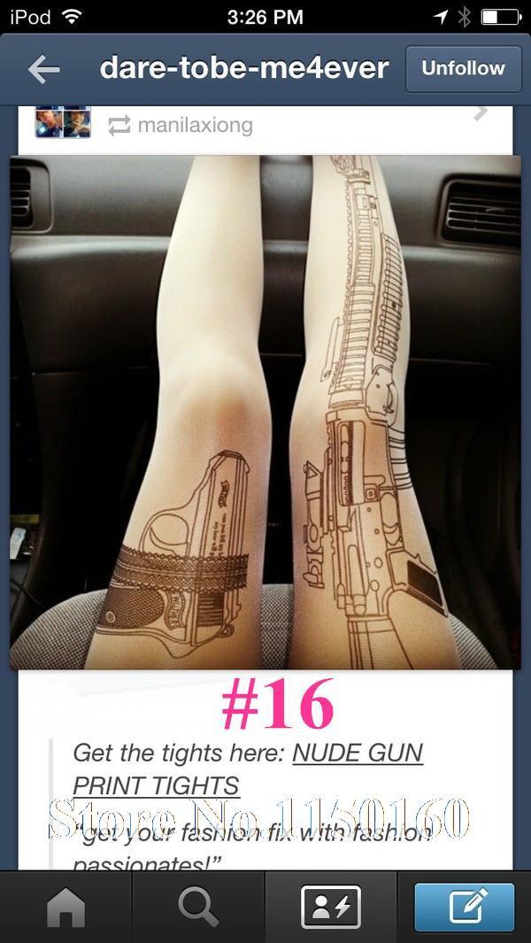 2015 Girls Sexy Machine Gun Tattoo Pantyhose Transparent Tights ladies ...