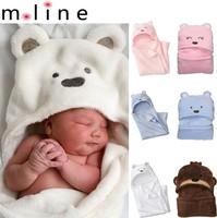 Minizone Bear Hooded Blanket Baby Coral Fleece sleep bag Baby swaddling Pink/blue/white Drop shipping