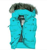 2014 NEW down vest women Fur Detachable Hooded Sleeveless women vest down jacket Coat ex-factory In Stock