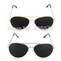 Free Shipping 10 pcs Pinhole Glasses Eyeglasses Eyewear Vision Eyesight Improve Care Exercise - Silver