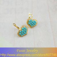IZZ01438-1 18K Gold Filled Turquoise/pearl Heart pendant earrings  2pcs/lot